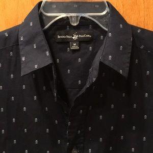 🔥3 for $15 Men's Black Skull Button-Down Shirt M